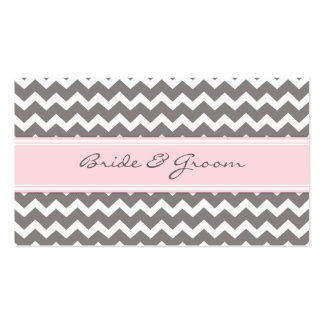 Pink Chevron Wedding Table Place Setting Cards Double-Sided Standard Business Cards (Pack Of 100)