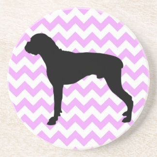 Pink Chevron With Boxer Silhouette Drink Coaster