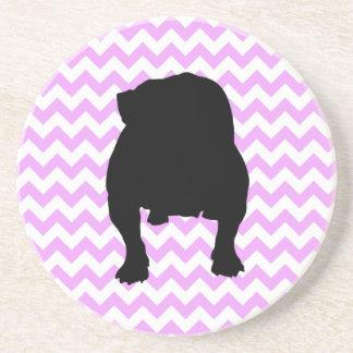 Pink Chevron With English Bulldog Silhouette Coaster