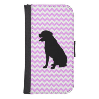 Pink Chevron With Lab Silhouette Galaxy S4 Wallet