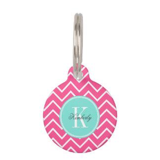 Pink Chevron with Turquoise Monogram Pet Name Tag