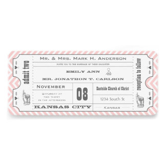 Pink Chevron Zig Zag Vintage Modern Ticket Wedding Personalized Invites