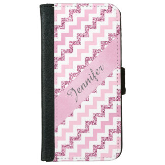 Pink Chevron Zigzag Glitter Monogramed Wallet Phone Case For iPhone 6/6s