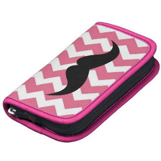 Pink chevron zigzag pattern cute chic mustache organizer