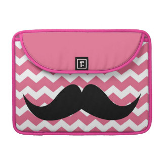 Pink chevron zigzag pattern cute chic mustache sleeve for MacBook pro