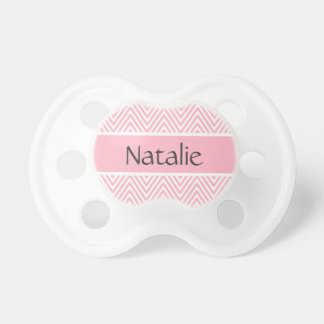 Pink chevron zigzag pattern personalized name pacifier
