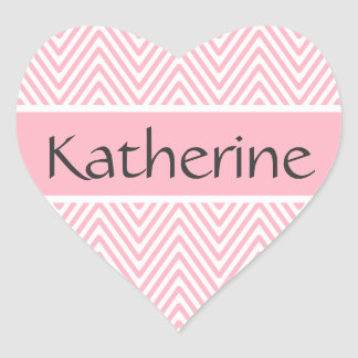 Pink chevron zigzag pattern personalized name heart sticker