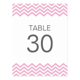 Pink chevron (zigzag) pattern table number card post card