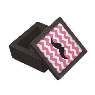 Pink chevron zigzag pattern trinket mustache gift box