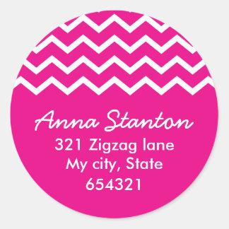 Pink chevron zigzag pattern zig zag address label classic round sticker