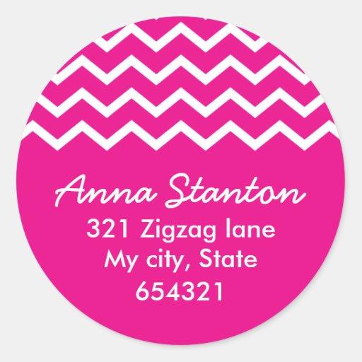 Pink chevron zigzag pattern zig zag address label round sticker