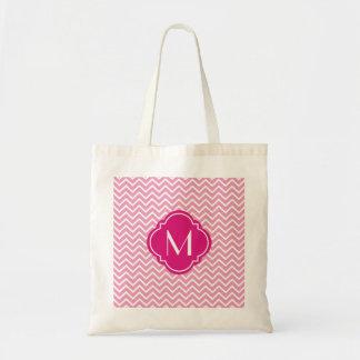 Pink Chevron Zigzag Stripes with Monogram Tote Bag