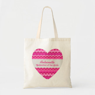 Pink Chevrons Godmother of the Bride Custom Name Tote Bag