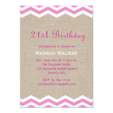 Beach Themed Pink Chevrons on Burlap Birthday Invitation