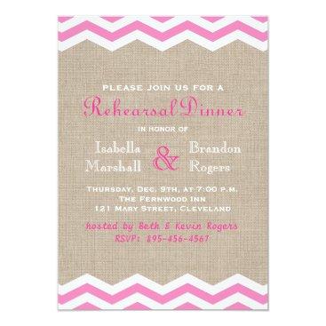 Beach Themed Pink Chevrons on Burlap Rehearsal Dinner Invite
