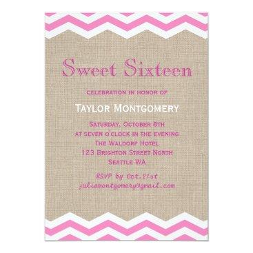 Beach Themed Pink Chevrons on Burlap Sweet Sixteen Invitation
