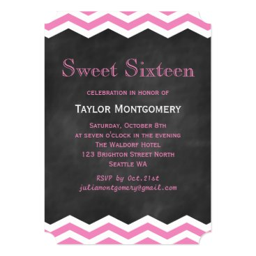 Beach Themed Pink Chevrons on Chalkboard Sweet Sixteen Invite