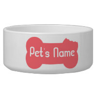 Pink Chewed Bone Personalized Dog Bowl 5