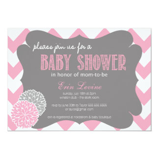 Pink Chic Chevron Baby Shower Invitation