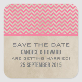 Pink Chic Chevron Save the Date Stickers