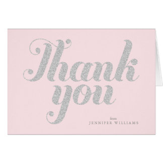 Pink Chic Faux Silver Glitter Thank You Notes