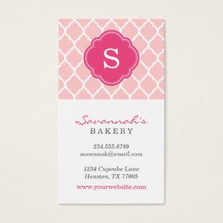 Pink Chic Moroccan Lattice Custom Monogram Business Card
