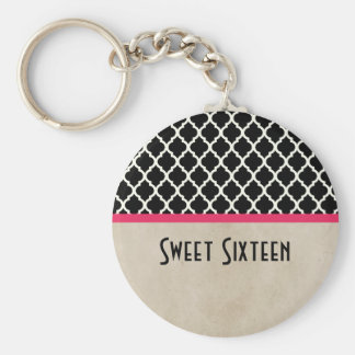 Pink Chic Quatrefoil Sweet 16 Keychain