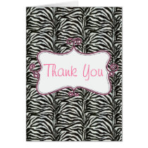pink Chic Zebra stripes  Thank you Card
