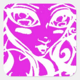Pink chick square sticker