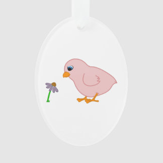 Pink Chick with Purple Coneflower Ornament