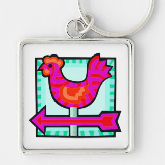 Pink Chicken Crossing Weathervane Arrow Silver-Colored Square Keychain