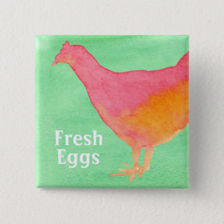 Pink Chicken Farm Fresh Eggs Button