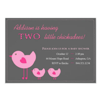 Pink Chicks Twin Baby Shower Invitation