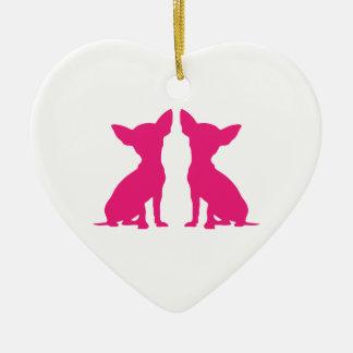 Pink Chihuahua dog cute hanging heart ornament