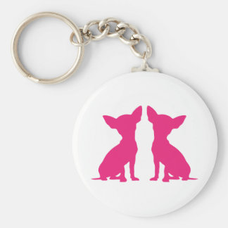 Pink Chihuahua dog cute keychain, gift idea Basic Round Button Keychain