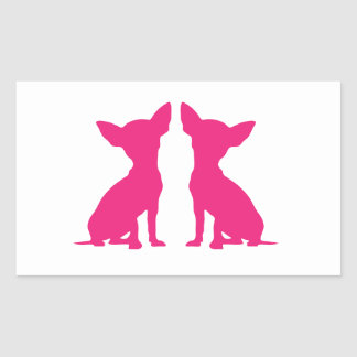 Pink Chihuahua dog cute rectangle stickers gift