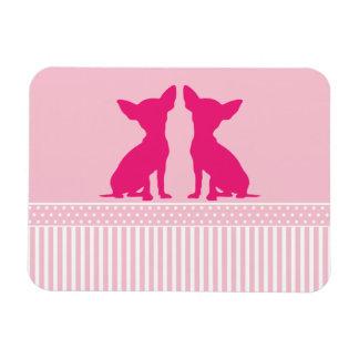 Pink chihuahua dog polka dots & stripes magnet