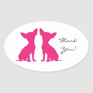 Pink Chihuahua dog thank you oval stickers gift