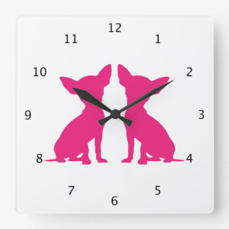 Pink Chihuahua dogs silhouette cute Square Wall Clock