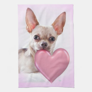 Pink Chihuahua kitchen towel