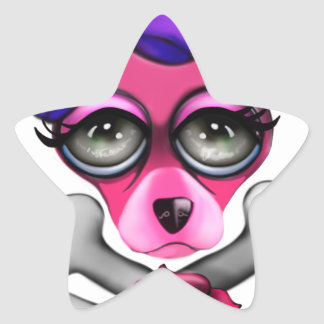 Pink Chihuahua Skull and Crossbones Star Sticker