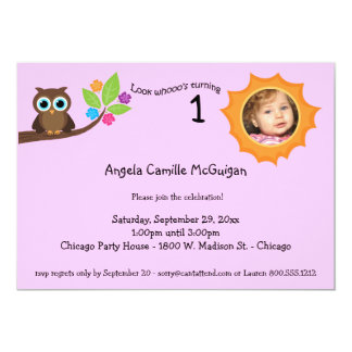 Pink Children's Birthday Party Owl Photo Invite