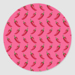 Pink chili peppers pattern classic round sticker