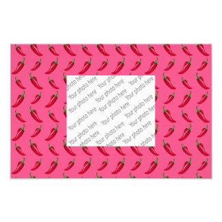 Pink chili peppers pattern art photo