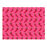 Pink chili peppers pattern postcard