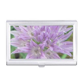 Pink Chive Flowers Allium Schoenoprasum Case For Business Cards