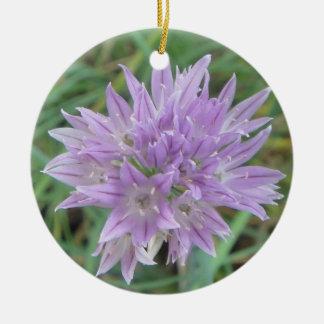 Pink Chive Flowers Allium Schoenoprasum Ceramic Ornament