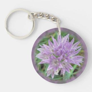 Pink Chive Flowers Allium Schoenoprasum Keychain