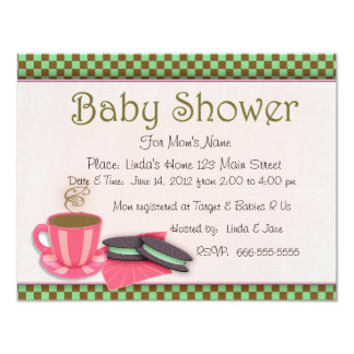 Pink, chocolate and mint baby shower invite