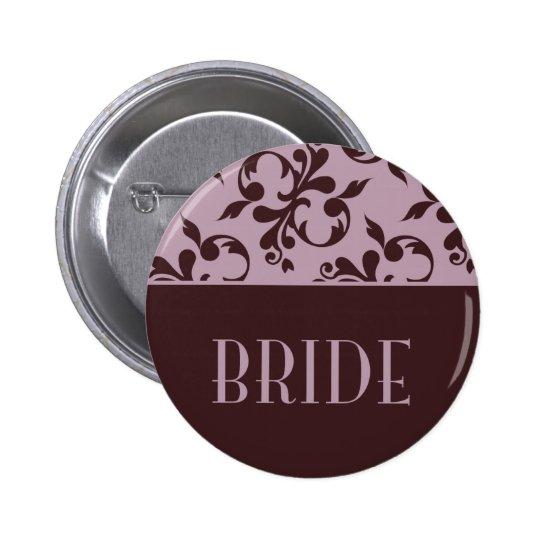 Pink & Chocolate Bride Button